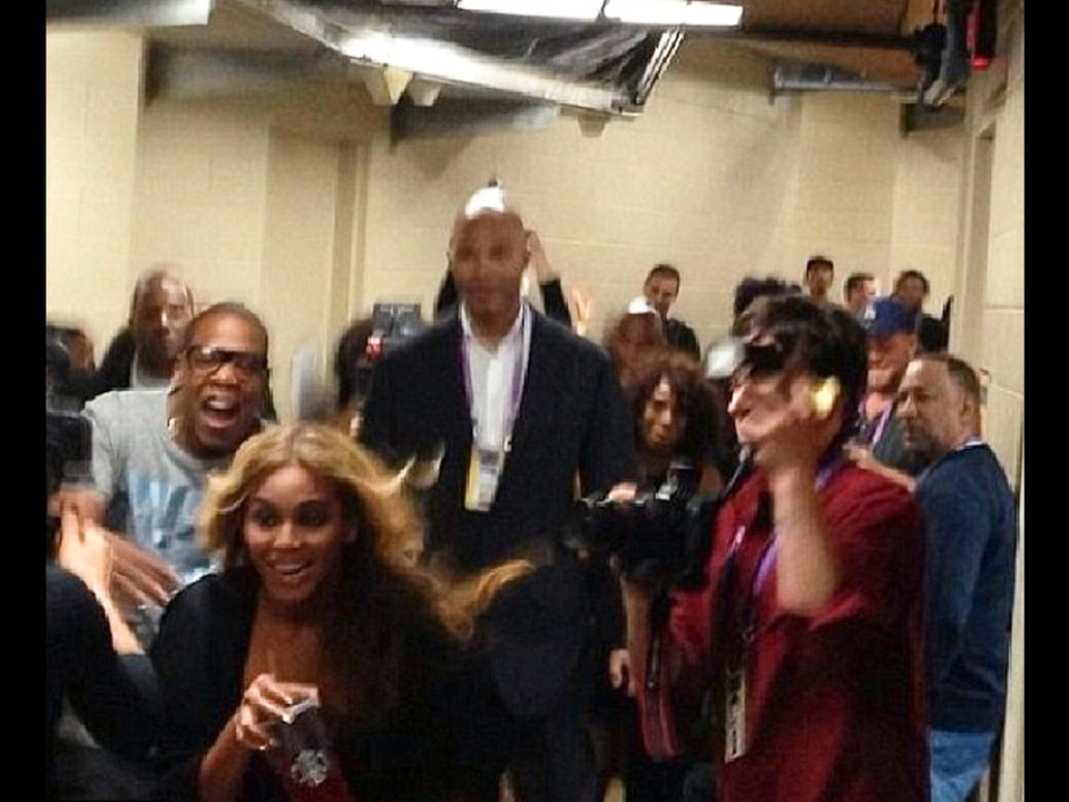 Beyonce, Super Bowl, back stage after show, February 2013