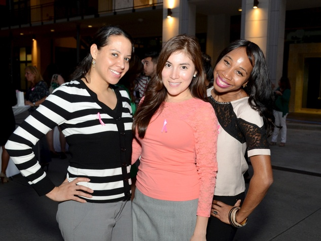 15 Aimee DeSantiago, from left, Melanie Gutierrex and Stellante at the West Ave Turns Pink party October 2013