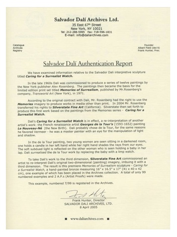 Salvador Dali authentication report September 2013