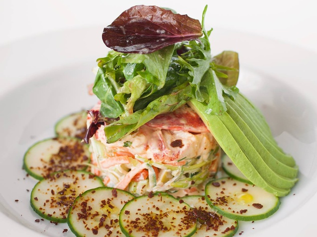 Up Restaurant Lobster salad fresh atlantic poached lobster, pickeled cucumbers and carrots, sun dried tomatoes, preen olives, baby filled greens with dried miso flakes