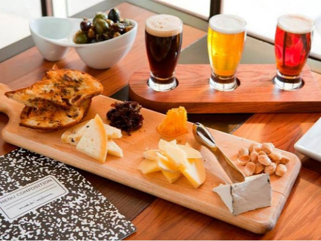 Public School cheese plate and beer sampler