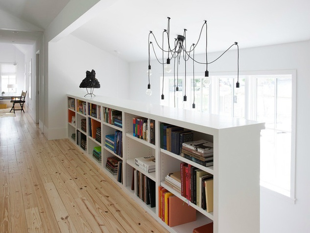 Houzz Austin home house modern Texas farmhouse light fixture bookcase