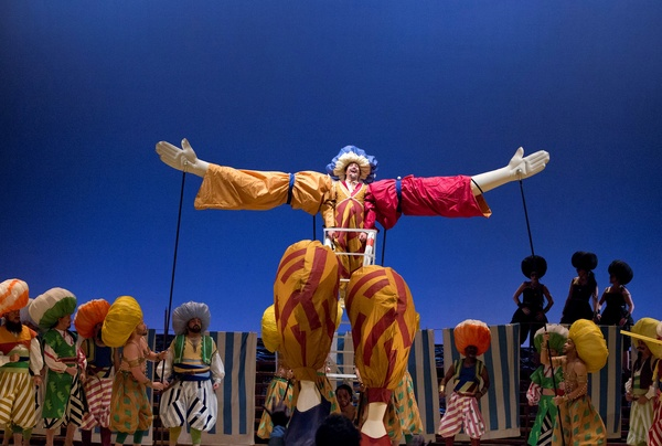 Houston Grand Opera, The Italian Girl in Algiers, October 2012, Daniel Belcher (Taddeo) is appointed Kaimakan by Patrick Carfizzi (Mustafa) in in Act II of Houston Grand Operas production of The Italian Girl in Algiers