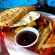 Jollyville burger at Phil's Icehouse with fries