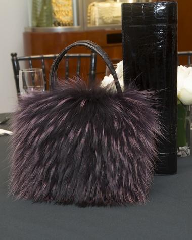 A furry bag at Nancy Gonzalez at Saks Fifth Avenue November 2014