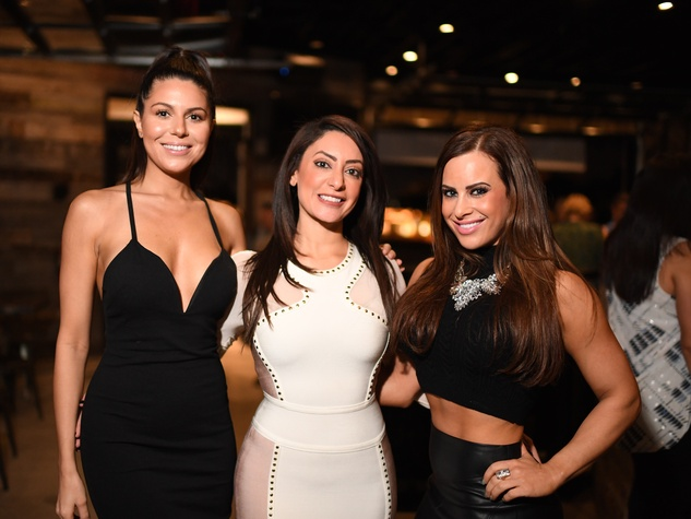 Terann Hilow, Rosemary Girgis, Alexis Weiner at Bosscat Kitchen Super Bowl party