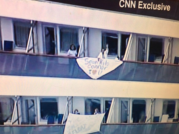 Carnival Triumph, passengers with flags
