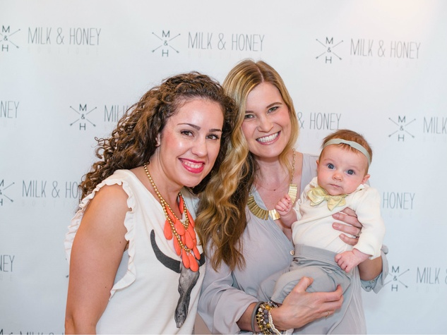 Kat Armstrong, Katie Anderson, Beckett Anderson, milk and hoeny baby bow tie event