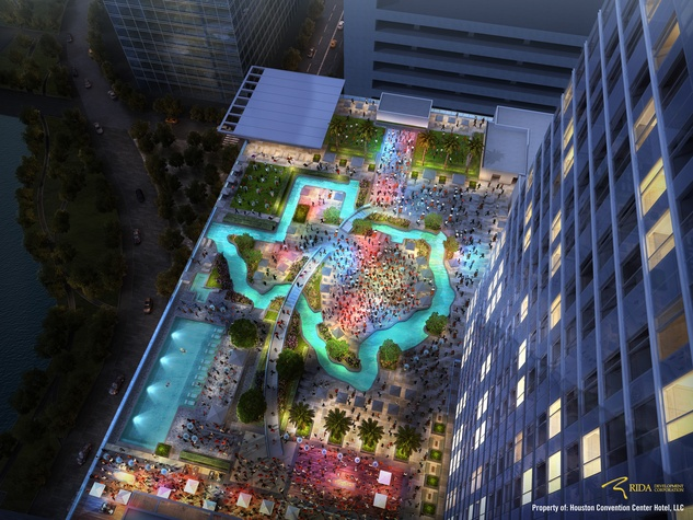 Houston Marriott Marquis Hotel Downtown September 2017 Pool Shaped Like Texas