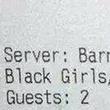 Bubba's Bar & Grill black girls receipt September 2014