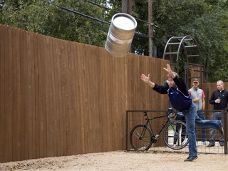 Keg tossing at Banger's during Oktoberfest