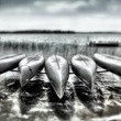 "Archival pigmented ink print, ""Suspended Canoes, Interlochen, Michigan,"" by Dan Burkholder"