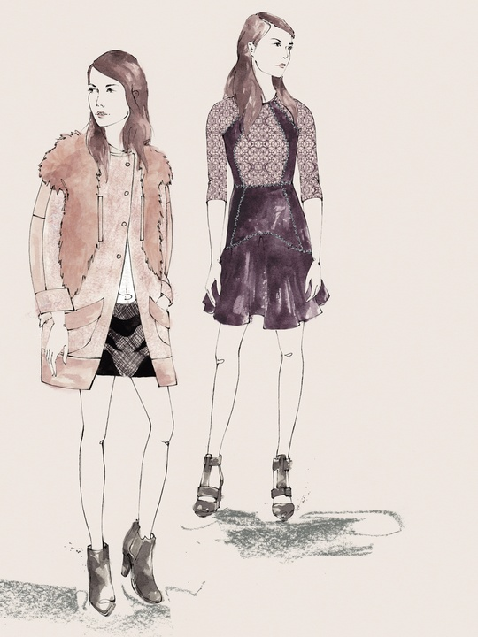 Designers' sketches fall 2014 collections Rebecca Taylor