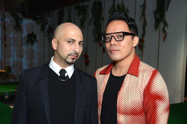 02 Rene Garza, left, and Allen Tran at the DiverseWorks Fashion Fete November 2014