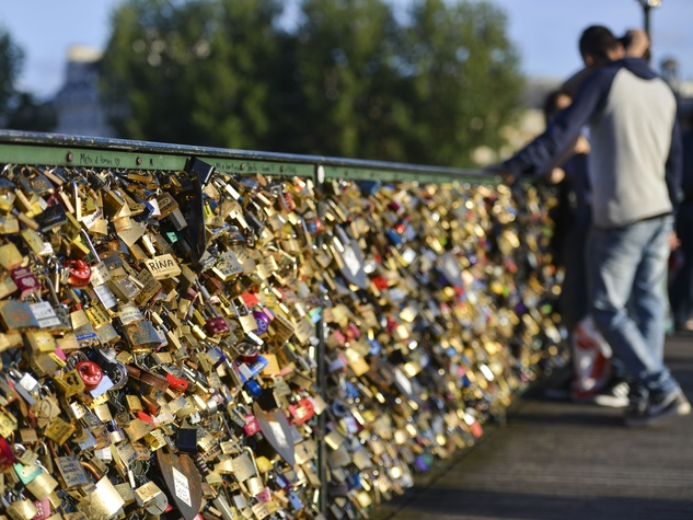 Paris bridge with locks