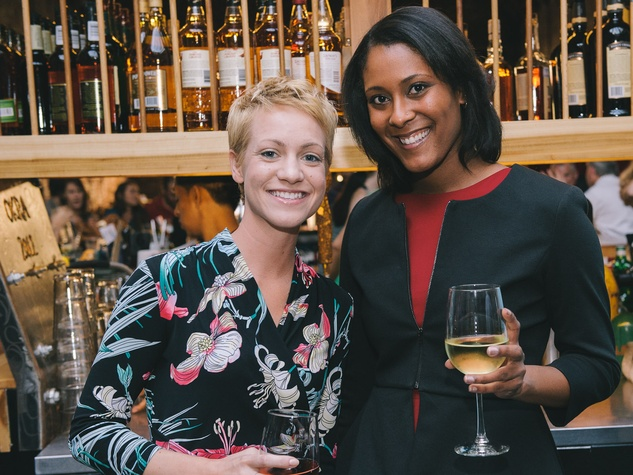 Sarah Bosch, left, and Qualata Forrest at the Houston Symphony Young Professionals Backstage kick-off party