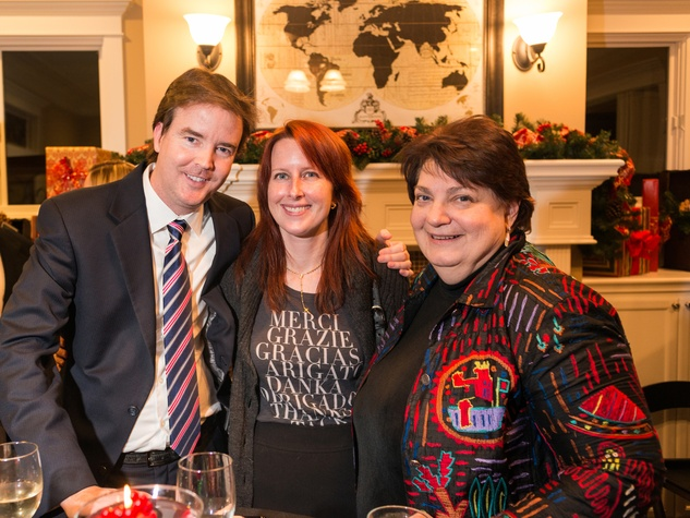 2068 26 John and Allie McPeak, from left, with Leslie Friedrich at the Joiner holiday party December 2013