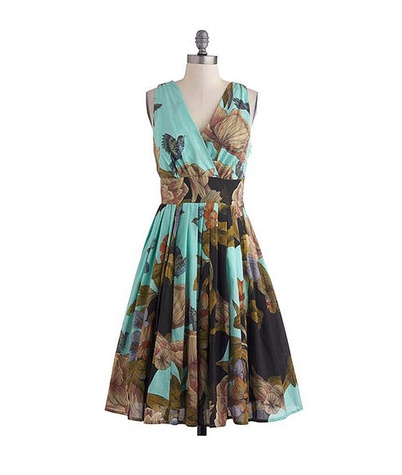 modcloth Glamour Power to You Dress in Woodland Garden