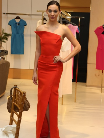 Roland Mouret fashion show, Neiman Marcus, December 2012, red gown