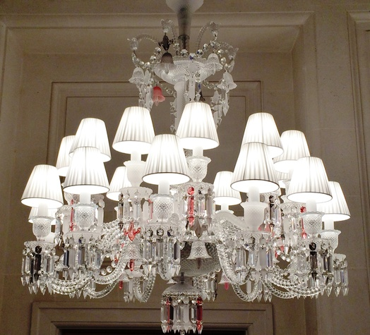 Cherri Carbonara Baccarat factory tour April 2015 One of many glowing crystal chandeliers at Maison Baccarat