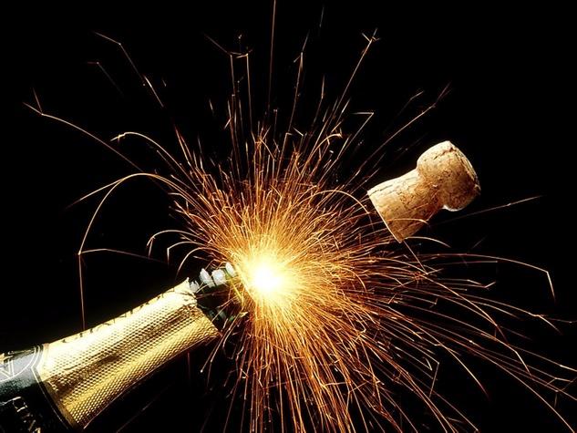 champagne, cork, fireworks