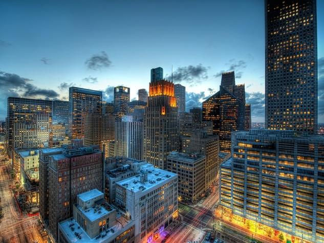 Houston, downtown, skyline, buildings, night