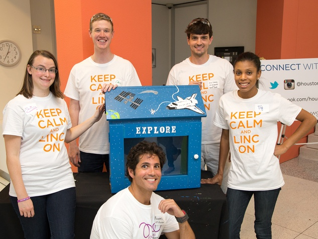 United Way promoted article November 2014 Melissa VanNess, Chris Spears, Alex Cheney, Ty Johnson and Michael Mousa Tiny Libraries