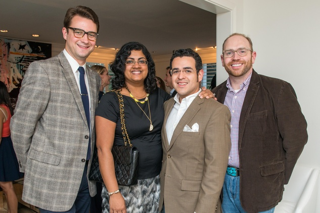 1 Liam Bonner, from left, Ishwaria Subbiah, Mario Gudmundsson and Darrin Davis at the HGO Young Patrons Kick-off September 2014