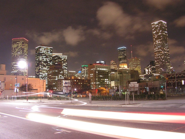 Houston skyline downtown at night