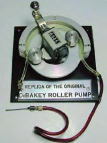 Originally invented and patented by Dr. Michael E. DeBakey and Charles Ernest Schmidt in 1935, the DeBakey Roller Pump with a ratchet to prevent back flow was used for direct donor-to-patient transfusion.