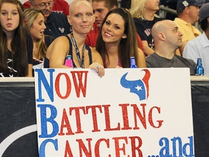 Texans Game, cancer sign, Jamie Gilmore