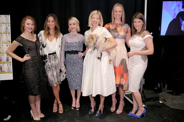 Holland Roden, Jamie Chung, Taryn Manning, Lela Rose, Julie Henderson and Gail Simmons pose backstage at the Lela Rose fashion show September 2014