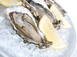 plate of raw oysters on ice with slice of lemon