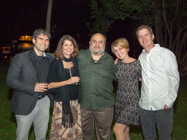 Joshua Newcomer, from left, Katy Atkiss, Barsamian, Ashley Clemmer Hoffman and Brendan Hoffman at Rothko Chapel's Moonrise Party on the Plaza October 2013