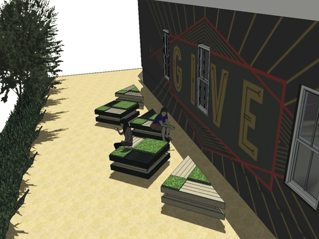 TOMS rendering of Give mural on side of store