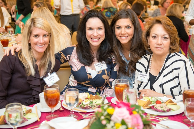 0139 Laura Anderson, from left, Samantha Kennedy, Monica Blaisdell and Margaret Barradas at the Spring Chick luncheon April 2015