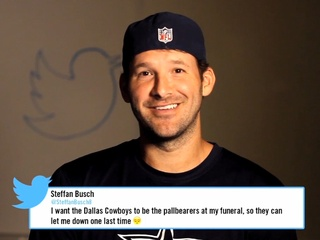 Tony Romo reads mean tweets