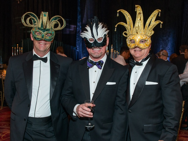 13 David Crawford, from left, Terry Wayne Jones and Tripp Carter Masks at the Houston Ballet Ball February 2015