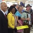 Mario Diaz, Sheila Jackson Lee and band at inaugural United flight to Munich