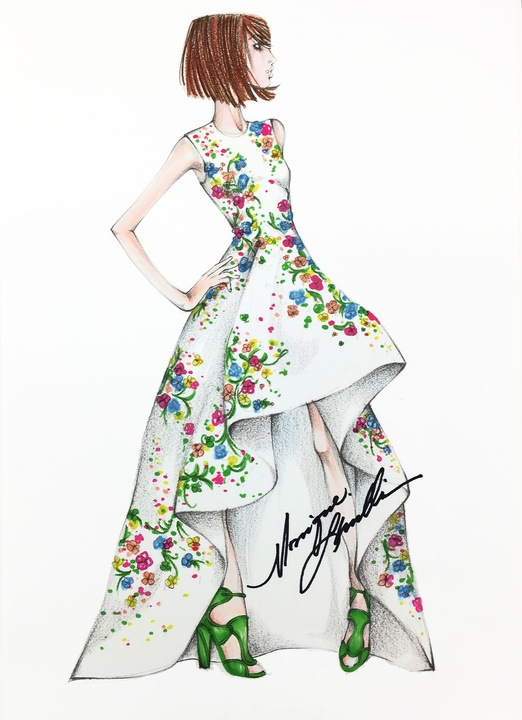 Monique Lhuillier inspiration sketch New York Fashion Week spring 016