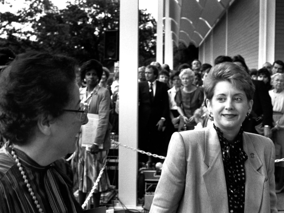 News_18_The Menil Collection opening, June 3, 1987_Nabila Drooby_Mayor Kathy Whitmire