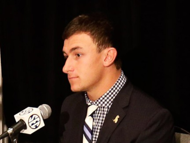 Johnny Manziel speaks at SEC Media Days in Alabama