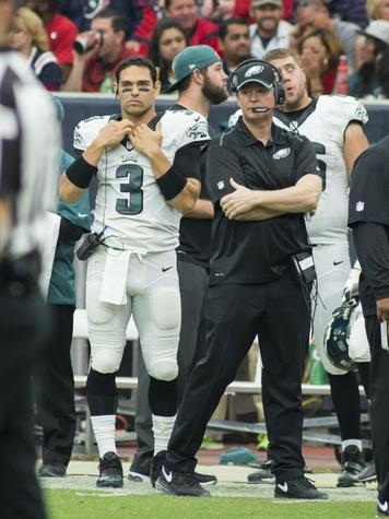 0012 Texans vs. Eagles first half November 2014 Eagles coach on sideline with 3 Mark Sanchez