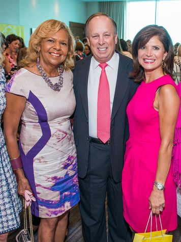Yvonne Cormier, from left, Dan Wolterman and Lori Wolterman at the Hermann Memorial Razzle Dazzle luncheon October 2014