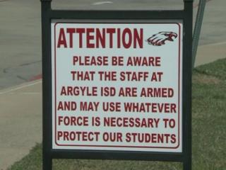 Sign about guns at Argyle ISD