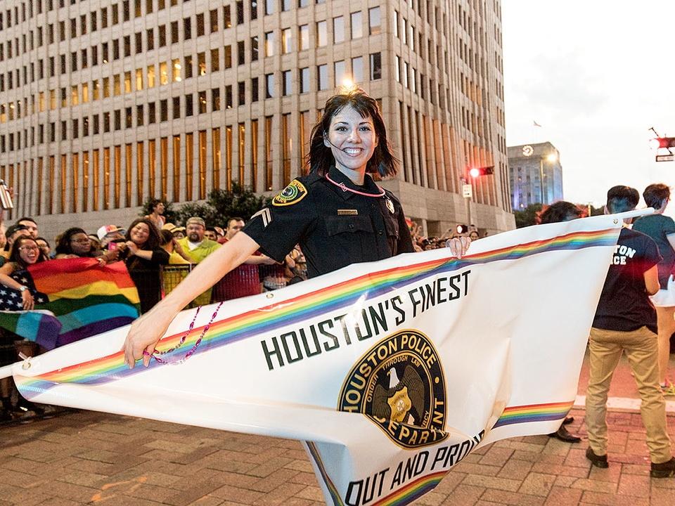 Houston Pride 2015 D.S. Sanchez police banner