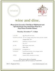 Peju Wine Dinner at Triniti