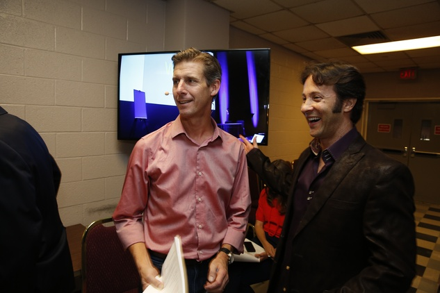 Show3 Kai Ryssdal, left, and Dr. David Eagleman at the Marketplace Show October 2014