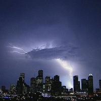 Houston, downtown, skyline, lightning, storm