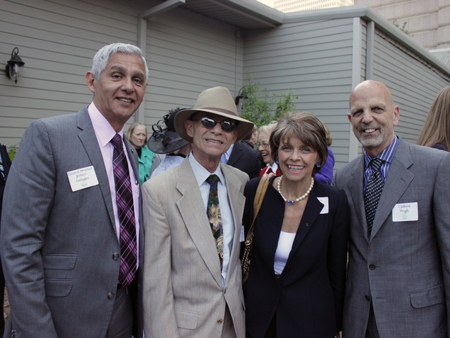 3408 Robert Gallegos, from left, Bart Truxillo, Kathryn McNeil and Clifford Pugh at the Houston Heritage Society luncheon April 2014